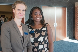 Dr. Erin Heidcamp, left, director of the Office of International Education, stands with Dian Brown-Albert, director of the multicultural center.