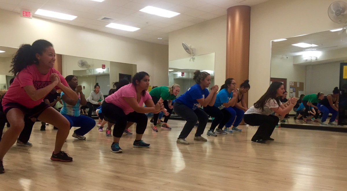 Fitness center hires zumba instructors as interest and for Living room zumba