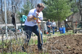 Volunteer shovels dirt in the garden near Davis Hall.