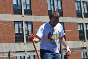 Some volunteers were assigned to work on the garden near Davis Hall.
