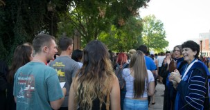 Students making their way onto campus at Freshman Convocation.
