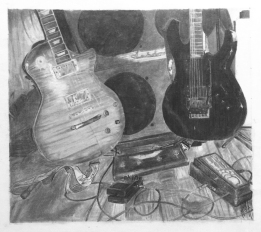 John Deichendes' dual-guitar drawing. Photo Credit, John Deschenes