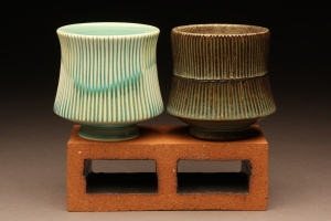 Cups created by Gregory Crochenet, professor in ceramics.