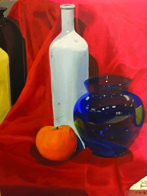 Geraldino's still life painting for his first painting class at Southern. Photo credit: Sherly Montes