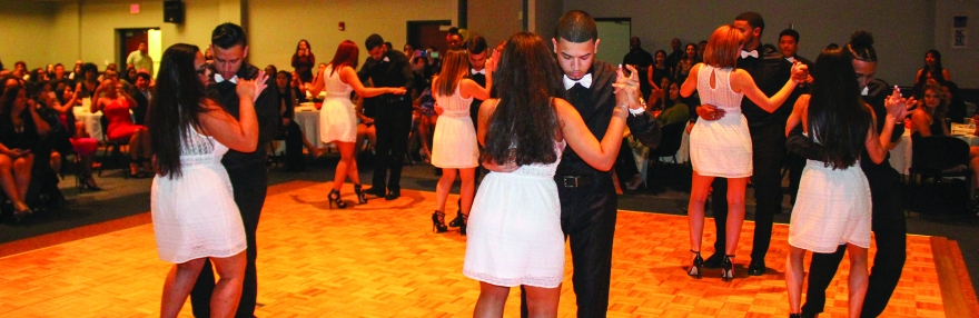 Students dancing at the Noche De Gala event, hosted by OLAS on Oct. 20. Photo Credit: Palmer Piana